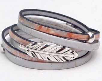 Patterned Leather, Cork Wrap Bracelet, Whirly Wrap, Coral Gray patterned Leather, Gray Cork, silver feather, secure magnet, easy on