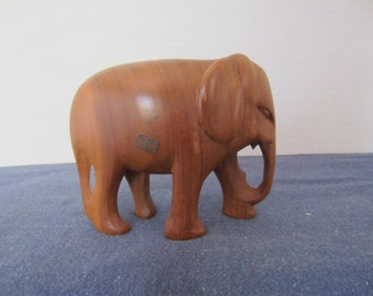 Carved Wooden Elephant, Paper Label Made in Kenya