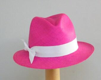 Pink Panama hat / summer Fedora hat / womens sun hat / fushia sun summer accessory