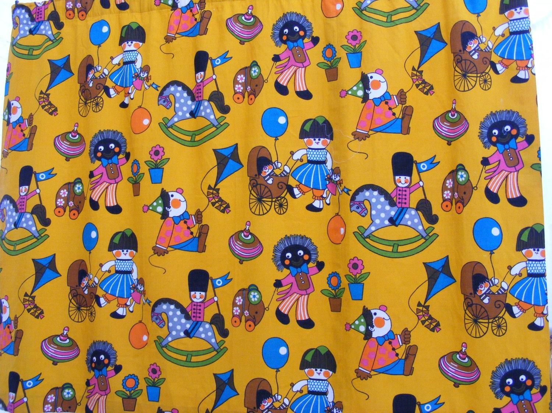 Vintage nursery fabric playtime by frieda clowes mid for Retro nursery fabric