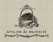 Atelier de Brodeuse. Instant Download Digital Image No.377 Iron-On Transfer to Fabric (burlap, linen) Paper Prints (cards, tags)