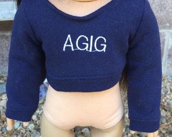 """American girl doll """"AGIG"""" cropped sweatshirt (read description)"""