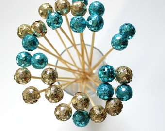 Champagne Gold Aqua Drink Stirrers, Sparkle Glitter, Wedding, Peacock Party