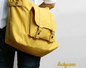 Summer Sale 20% OFF// CARSON // LemonChiffon / Line with Beige / 032 / Ship in 3 days // Messenger / Diaper bag / Shoulder bag / Tote bag /