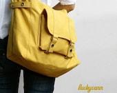 Summer Sale 20% OFF// CARSON // LemonChiffon / Line with Beige / 032 / Ship in 3 days // Messenger / Diaper bag / Shoulder bag / Tote bag /