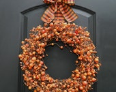 Fall Wreath - Halloween Wreath - Berry Wreath - Wreath Hanger Included