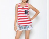 Girls Patriotic flag tank