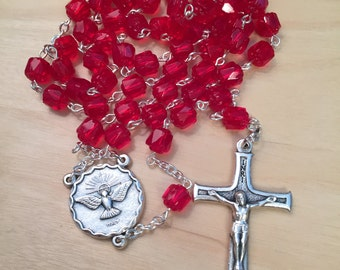 Red Cathedral Bead Confirmation Rosary