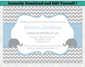 Editable Baby Shower Invitation Template - Boy Baby Shower Invitation - Chevron Baby Shower - Blue and Gray Elephant Baby Shower