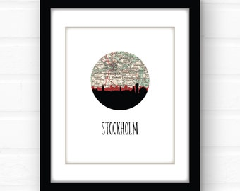 Stockholm poster | Sweden map art print | Sweden map print | Stockholm Sweden art print | Swedish art | city skyline art | Stockholm skyline