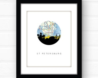 St Petersburg Florida wall art | St Pete skyline print | Florida home decor | city skyline print | map art | Florida decor | Florida map