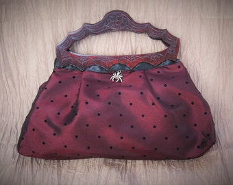 Small Handbag, deep red, wood handles, carved handles, spiderwebs, spider, polka dots, handmade, steampunk,red and black, samhain, halloween