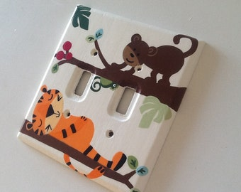 "Custom Painted Double Lightswitch Cover- ""Treetop Buddies"""