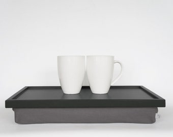 Breakfast serving tray, Laptop Lap Desk, laptop stand- dark grey tray with warm grey Pillow