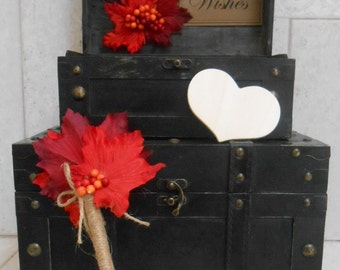Wedding Card Trunk And Wedding Wishes Trunk / Wedding Decor / Fall Wedding Card Trunks / Rustic Wedding Card Holder / Rustic Wishes