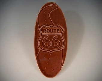 Route 66 Wall Plaque - Earthenware with brown gloss  glaze.