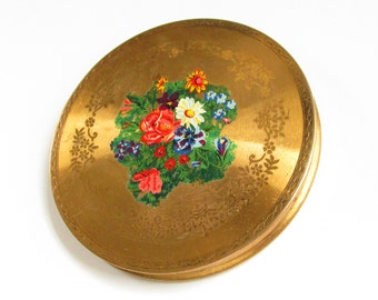 Vintage Flower Powder Compact made in Great Britain 1940s