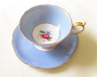 Vintage Fancy Blue Teacup Saucer wide mouth Bayreuth US Zone Germany 1940s Tea Cup