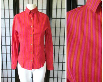 Vintage Marimekko Shirt Pink Orange Red Shirtwaist Iconic Blouse Medium Large 34 S M Mikka Piirainen Vertical Stripes