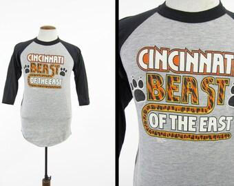 Vintage 80s Cincinnati Jersey Shirt Beast of the East Raglan T-shirt - Medium