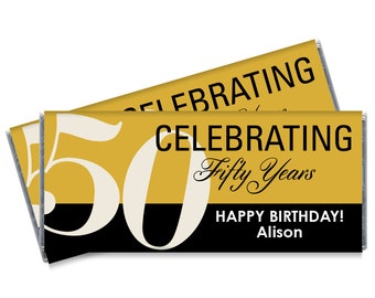 Set of 12 - 50th Gold Birthday Candy Bar Wrappers - Adult Milestone Favors - 20th, 30th, 40th, 50th, 60th, 70th - Any Age - Change the color