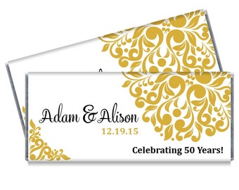 Set of 12 - Gold Wedding Anniversary Candy Bar Wrappers - 50th Wedding Anniversary Party Favors