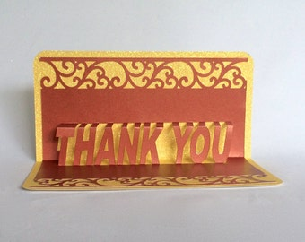 THANK YOU 3D Pop Up Greeting Appreciation Card in Metallic Copper & Shimmery Yellow Home Décor Handmade Original Design One Of A Kind