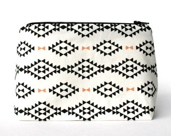 Aztec Southwestern Print Makeup Bag / Cosmetic Bag in Black and White, Coral Accents