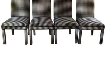 Dining chairs. Set of four Parsons houndstooth upholstered chairs. Atlanta interior design