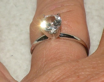 7mm SS White Sapphire Engagement RIng