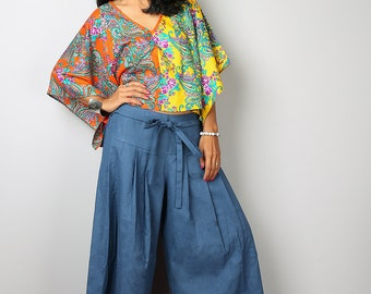 Blue Pants - Wide Leg Pants - Cotton Linen Pants :  Soul of the Orient Collection
