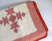 Vintage Gingham Quilt Patchwork Red and White Tea Baskets CoMpLETELY HaND Stitched Patchwork Twin Single Bed Quilt Throw Lap Quilt Bedspread