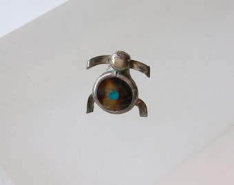 Vintage Turtle Tie Tac Brown Turtle Shell Tortoise Tie Tack Lapel hat pin Inlay Shell & Turquoise Silver Indian Lapel Pin FREE US SHIPPING