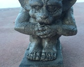 Concrete Crouching Gargoyle Statue