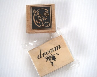 Dream Rubber Stamp / Letter C Stamp / Two Wood Mounted Rubber Stamps / stamping supply / Initial rubber stamp