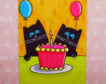 Aceo original Cat Painting 2.5 X 3.5 inches   TWINS BIRTHDAY PARTY Black Cat Art