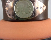 Handmade, Unlined, Southwestern, Brown Leather Cuff, Copper Arrowhead, Indian Head Coin.