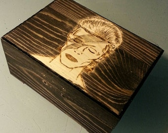 David Bowie commemorative woodburned box