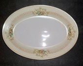 Hold for Dino 531 Serving Platter Plate Oval 12 Inch Meito Japan Arbor Floral Pattern Vintage 1940s