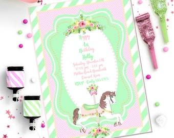 CAROUSEL HORSE INVITATION ~ {Pink & Green} ~  Personalized Printable Download