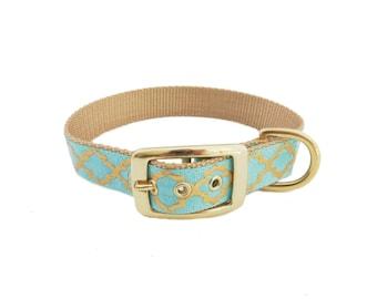 """Dog Collar in Gold Foil Print, Quatrefoil Design, Cute Dog Collar, 1"""" Wide"""
