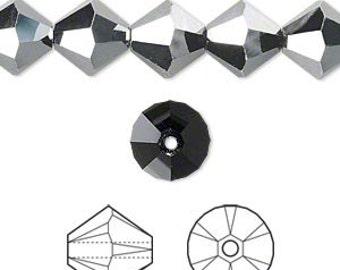 Swarovski crystal, jet hematite, 6mm Xilion bicone 100 beads