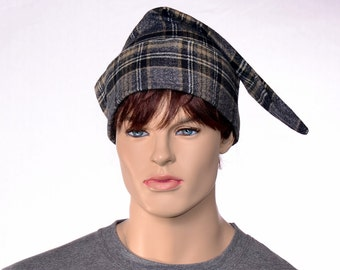 Cotton Flannel Night Cap Gray Plaid Suit Nightcap Adult Sleep Hat Traditional Pointed Poor Poet ®