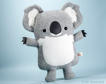 Cute Koala plush stuffed animal, Kawaii koala bear soft toy doll, Handmade animal lover gift, Australia wildlife marsupial, Flat Bonnie