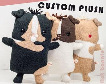 Custom Guinea Pig stuffed animal, Personalized pet memorial plush, Customized piggy soft toy, Handmade pet clone gift, fleece Flat Bonnie