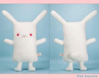 Red eye white rabbit stuffed animal, Easter bunny plush toy, Cute bunny lover gift, Albino soft stuffy doll, Ruby eyes REW, Flat Bonnie