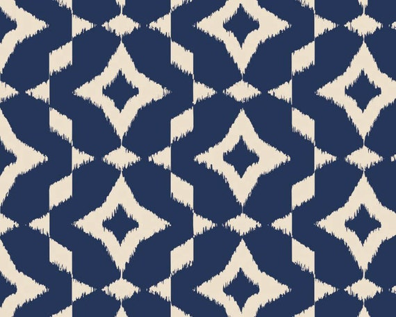 Mint to Be Navy Ikat from Camelot Fabrics by JAQSFabrics on Etsy