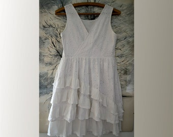 Summer dress, white, cotton, ruffles, romantic dress, artsy, shabby dress, asymmetrical dress, upcycled clothing, recycled dress