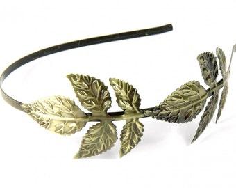 [HSPDez14-001] Headband 2 leaves headband romance of Miniblings hair sheet bronze two