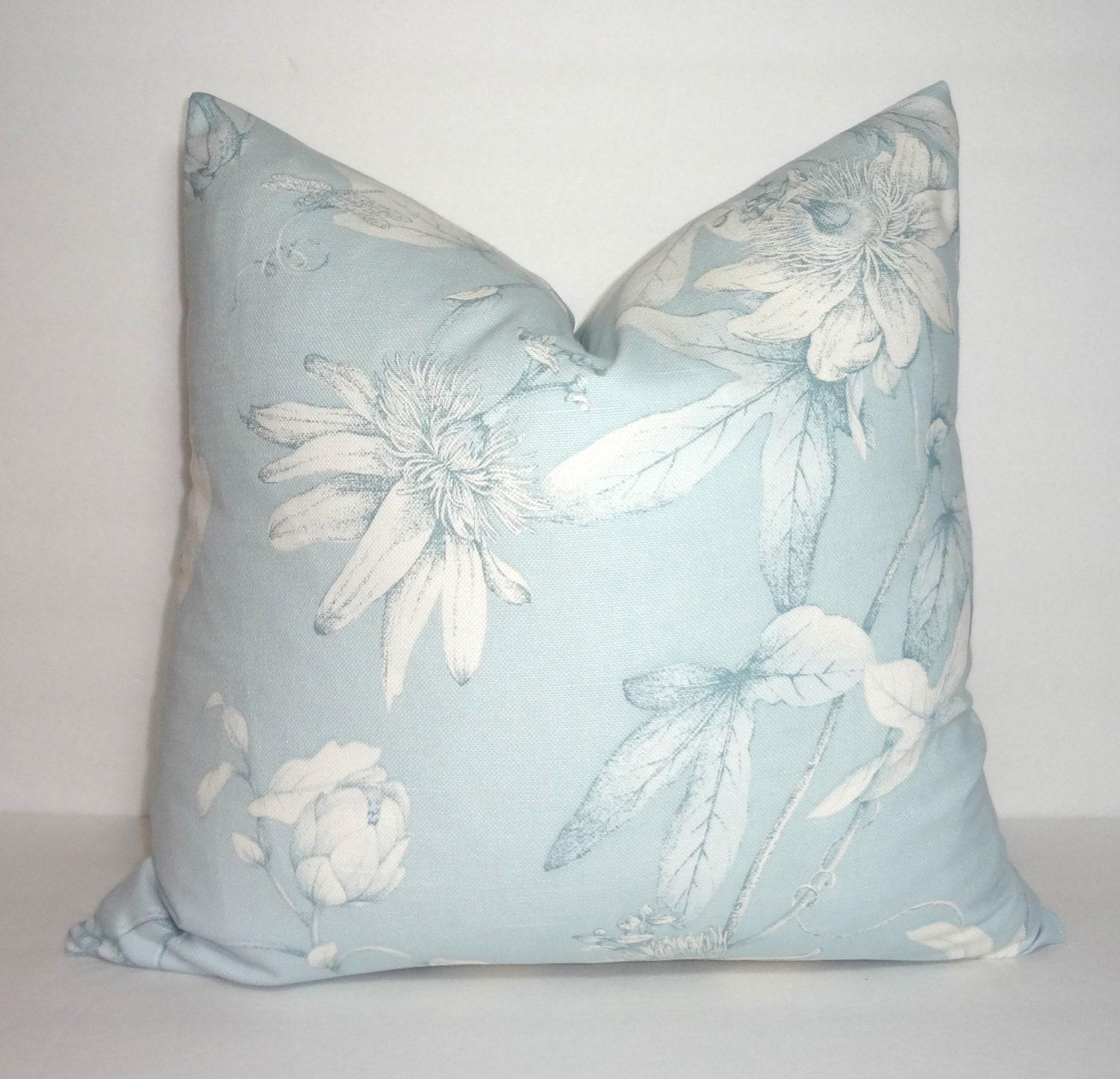 Decorative Pillow Light Blue Floral Print Pillow Cover Blue